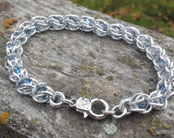 Aluminum chainmaille bracelet with captured crystal beads - trapped captive bead bracelet, silver chainmail jewelry, chain maille, unique