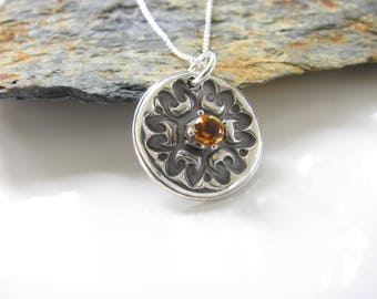 Flower Design Pendant with Faceted Citrine Gem - Hand Made from Fine Silver Necklace on Sterling Chain - Unique Design - Ready to Ship