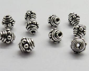 10 Pieces 925 Sterling Silver Bali Bead Spacer Beads 5mm Round