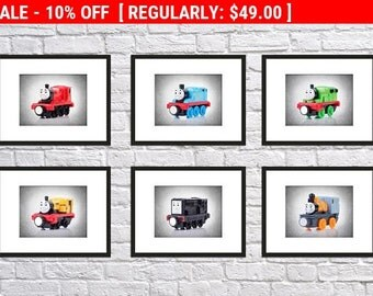 6 Thomas and friends prints, Thomas the Tank Engine, Thomas and friends, Thomas poster, Nursery Thomas print, nursery poster, boys wall art