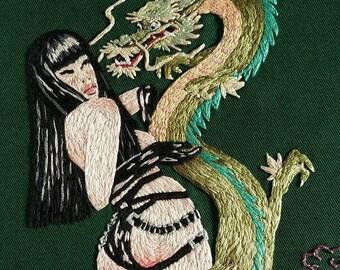 dragon girl embroidery