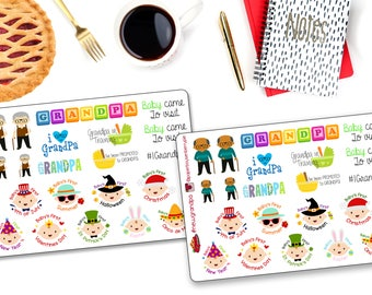 New Grandpa Stickers - Grandpa stickers - Baby Stickers - Baby's first stickers - Planner Stickers - Calendar stickers
