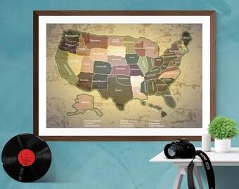 USA Map States United States of America Map Print Poster Wall art home decor Canvas/Matt/Silk A4/A3/A2