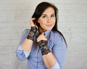 Lace Cuff Bracelet Wristband Lace Wrist Cuff Lace Jewelry Wrist Tattoo Cover Stretch Bracelet Lace Arm Band Wide Lace Bracelet w4154