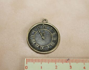 Bronze clock charm 23mm