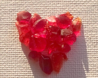 VERY RARE- 3 grams natural red sea glass tinies