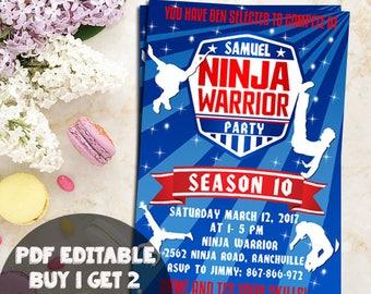 Ninja Warrior Invitation, Ninja Warrior Birthday Party, Ninja Warrior Invite, American Ninja Warrior Invitation, Ninja Warior editable pdf