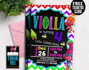 Trolls invitations, Trolls Birthday Invitation, Trolls Party,Troll Party Ideas, Trolls Birthday Party Card, Trolls invite, Free thankyoucard
