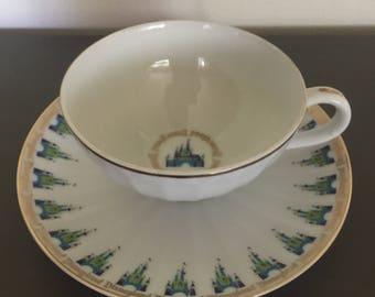 Vintage 1970's Fine China DISNEYLAND Fluted Teacup And Saucer Set