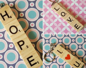 Scrabble Tile Keyrings, Love, I (heart) You, Hope, Gin, Dad, Car, Wine personalised, Zipper charm, Key fob, bag charm. Handmade