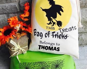 Personalized Halloween Sack, Witch Halloween Bag, Witch Treat Bag, Halloween Bag, Trick or Treat Bag, Witch Halloween Costume