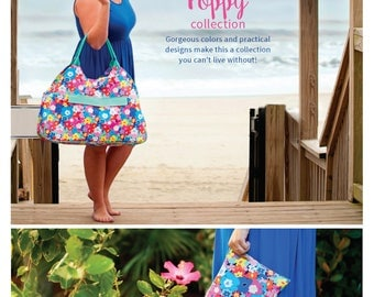 Poppy Beach Bag, Floral Pool Tote, Bright Flower Tote Bag, Packable Beach Tote, Poppy Flower Beach Bag, Custom Beach Tote, Zipper Pool Bag