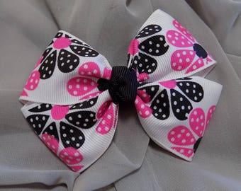 Pink and Black girl's hair bow - Pink and black, Hair bow, Accessory, 4-inch bow, Handmade