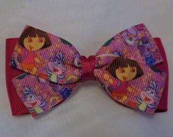 Dora Hair Bow - Toddler hair bow, Hair bow, Hair bow for girl, Head clip for girls, Girl hair clip, Hair bow, Hair accessory for girl