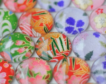 Assorted glass fridge magnets - Japanese Yuzen origami paper - authentic colorful designs - 25mm glass set of 6 to 12 - gift for her