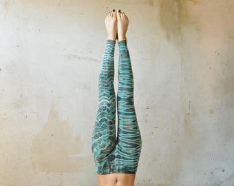 Leggings *TIGER & LEO* ~ Viscose ~  Acrobatics, Yoga, Acroyoga ~ Batik, Tie Dye ~ turquoise-brown
