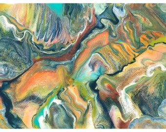 Divergent Terrain // Original abstract resin painting // Resin art