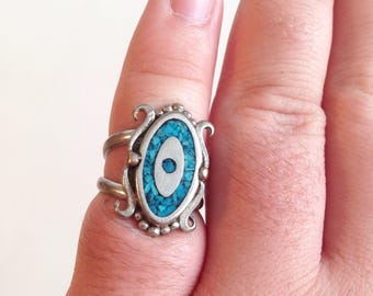 Vintage Southwest Crushed Tourquise Inlay Double Band Ring Size 5.5, 6 Silver Evil Eye