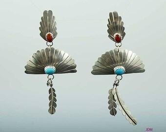 Elegant Pair Native American Indian Sterling Silver Coral Turquoise Earrings