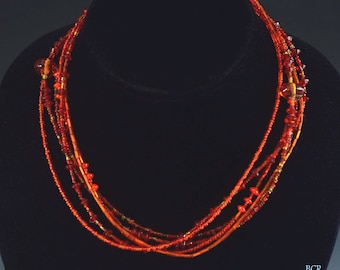 "Lovely Chico's Multi Strand Red Glass Bead Adjustable 20"" Necklace"