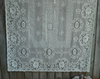 Vintage Cream Lace Curtain Panel, Shabby Chic, Cottage Chic