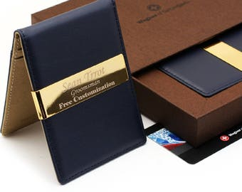Free engraving - Swiss Wagner, 24K Gold, Mens Leather Money Clips ID Card Holder, Groomsmen Gift, Free Customization