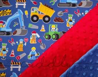 Blue Road Construction Site Minky Dot Weighted Blanket Custom Made to Order Dump Trucks Loaders Excavators