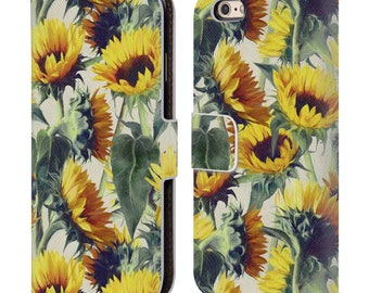 Leather iPhone Wallet Case,Floral Phone Case,Sun Flower Flip Case,Wallet Case,iPhone 5c/5/5S/6/6S/7 Plus,Gift for Women,Gift for Her-19