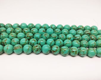 Howlite Turquoise Beads Turquoise Howlite Beads Blue Turquoise Gemstone Beads for Jewelry Making Bracelets Beads Necklace Beads Prayer Beads