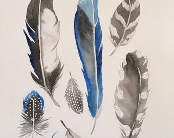 Black and Blue Feathers PRINT