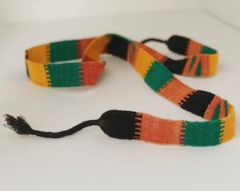 Vintage Guatemaln belt | woven tie front belt | colorful tie belt | ethnic print belt | handwoven belt | handwoven textile | festival wear