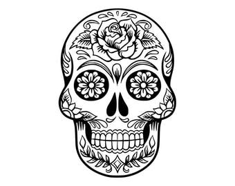 Sugar Skull SVG ,Candy Skull Svg Dxf, Sugar Skull Black&White, Day of the Dead, Sugar Skull outline,Silhouette cameo Files svg jpg png dxf