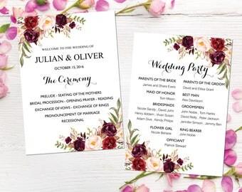 Printable Wedding Program Fan, Wedding program template, Boho ceremony program , Wedding Program Fan, INSTANT DOWNLOAD, AWP5