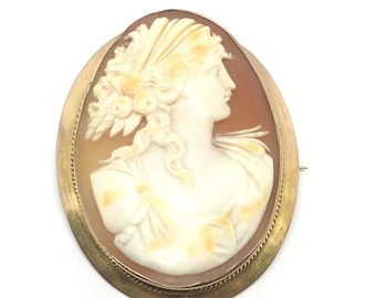 Antique Cameo Brooch | Edwardian Large Cameo 9ct Gold | Vintage Cameo Jewellery | Amazing Detailed Cameo | Antique Brooches | Free Shipping