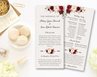 Wedding Program Ceremony Marsala Burgundy Floral Digital Printable Program Wedding Boho Ceremony Card Bohemian Bridal Wedding - WS-024