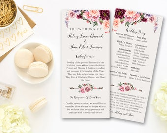Wedding Program Ceremony Marsala Burgundy Floral Digital Printable Program Wedding Boho Ceremony Card Bohemian Bridal Wedding - WS-030