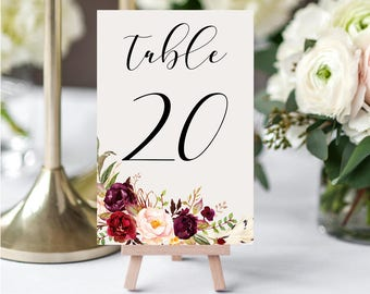 Wedding Table Numbers,Printable Table Numbers,Marsala Burgundy Table Numbers,Table Numbers Wedding,1-20,4x6,PDF Instant Download TN-024