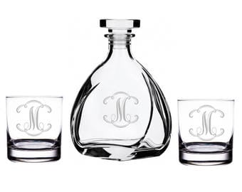 Cloud Initial Design Liszt Decanter with Rocks Glasses Set - Father's Day Gift (DC11335-AMC30)  Birthday Gift - set of 3