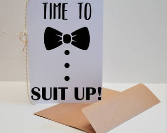 Set of Six Suit Up Groomsman Cards, Suit Up Card, Time to Suit Up Card, Suit Up Groomsman Card, Set of 6 Will You Be My Groomsmen Invitation