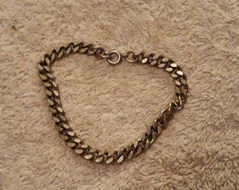 Vintage Silver Tone Metal Curb Bracelet