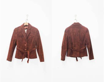 Vintage leather blazer/1970's era/ size 8