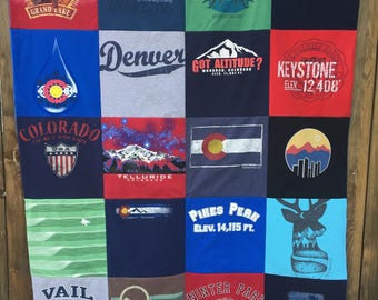 T-shirt Quilt 20 Blocks Batting Included