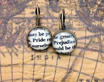 Pride and Prejudice OR Darcy and Elizabeth Literary Earrings Jane Austen