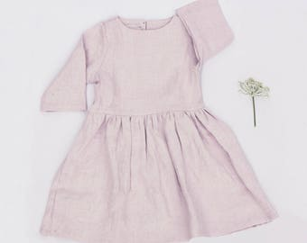 Girls soft linen dress - 3/4 sleeves