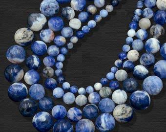 Natural Blue Sodalite Beads, Blue Gemstone beads, Stone Beads, Spacer Beads, Round Natural Beads, Full Strand, 4mm 6mm 8mm 10mm