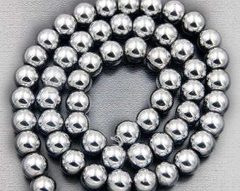 Silver Hematite Beads, Silver beads, Silver Gemstone Beads, Natural Hematite Beads, Round Natural Beads, 5-40pcs. 4mm 6mm 8mm 10mm 12 mm
