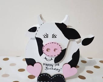 1st Birthday gift, personalised, birthday girl, handpainted cow, shelfie, Wooden gift, ornament, birthday, present