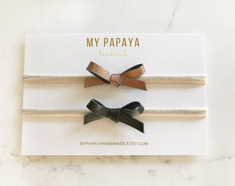 Faux leather bow | Nylon headband | Baby headband | simple bow