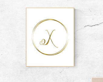 Letter X, gold, monogram, letter, initial, instant download, gold poster, printable art, wall art, gold monogram
