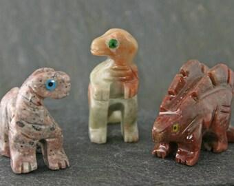 Carved Soapstone Dinosaur Set of 3, Collectable Animal Sculpture, Hand Carved Polished Brontosaurus, Stegosaurus, Tyrannosaurus Figurines